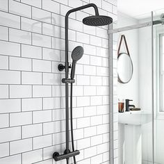Arezzo Modern Round Thermostatic Shower - Matt Black | Victorian Plumbing UK
