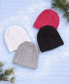 Women's 2-Pk. Fleece-Lined Cable-Knit Hats