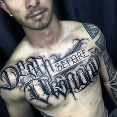 Badass Death Before Dishonor Mens Script Chest Tattoo