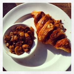 Organic croissant and lemon and thyme mushrooms at milkwood yum! ‪#‎melbourne‬ ‪#‎cafe‬ ‪#‎breakfast‬ ‪#‎healthy‬ ‪#‎organic‬
