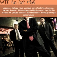 """Japanese Yakuza have a unique form of extortion known as """"sokaiya"""". Instead of harassing small business for protection money, the Yakuzu harasses the stockholder meetings of large corporations. Wtf Fun Facts, Funny Facts, Funny Jokes, Crazy Facts, Random Facts, Random Stuff, Strange Facts, Funny Tweets, Funny Stuff"""