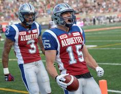 WK 2 - July 3 2015 - Cal 11 - Mtl 29, #1% Samuel Giguere (WR) and #3 Cody Hoffman (WR) celebrate