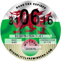 Welsh Y Ddraig Goch Car Vehicle Road Tax Disc Reminder PYLR006