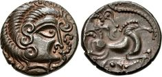 Celtic Billon Stater of the Curiosolites, Northwest Gaul, c. 100-50 BC.  The Curiosolites or Curiosolitae were a people in the French region now called Brittany, in Celtica, who are mentioned by Julius... | credit : archaicwonder.tumblr.com