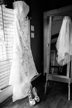 wedding dress, veil, and shoes