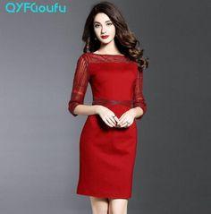 1e24d21c792e7 Summer 2017 High Quality Women s Party Sheath Dress Runway Half Sleeve  Black Red Fashion Dress Brand