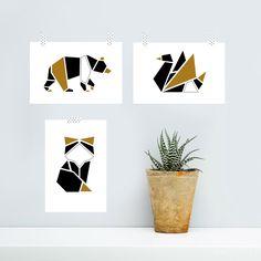 Lot 3 affiches posters graphiques illustrations origami: ours, renard et cygne format 10x15cm
