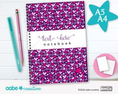 Personalised Notebook (Busy Hearts), handmade stationery - lots of designs to choose by aabecreative on Etsy
