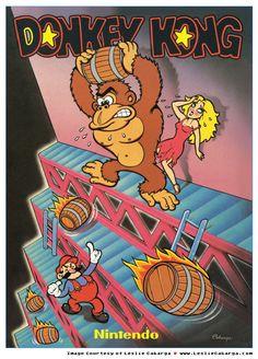 wardrobe malfunction, disparate stylization, red dress // Donkey Kong Arcade flyer
