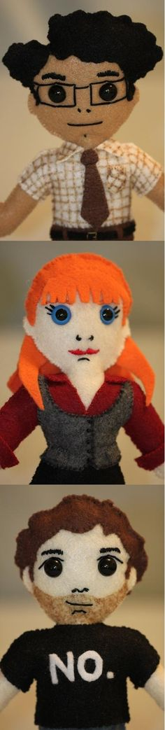 IT Crowd dolls, from craftycattery.