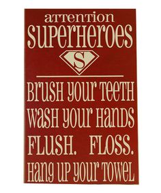 Take a look at this Red & Cream Superhero Bathroom Wall Art by Vinyl Crafts on #zulily today!