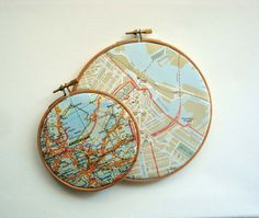 images from various cities traveled ?  Amsterdam Map Art in Hoop by yinsteadofi on Etsy, $24.00