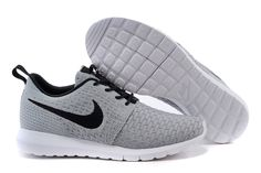 Mens Nike Flyknit Rosherun White gray Shoes