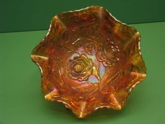 Carnival-glass-Imperial-lustre-Rose-Open-Rose-ruffled-Bowl-Marigold