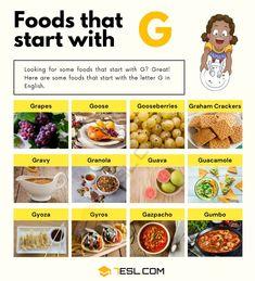 Foods That Start With G Graham Flour, Gazpacho Soup, Guava Fruit, Steamed Dumplings, Visual Dictionary, Tzatziki Sauce, Gumbo, Food Lists, Graham Crackers