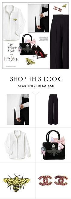 """""""My power look🌸"""" by frenchfriesblackmg ❤ liked on Polyvore featuring MANGO, Miss Selfridge, Lacoste, My Flat In London, Gucci, Chanel and Christian Louboutin"""