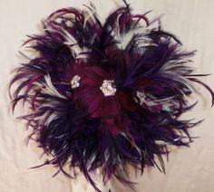 Purple Feather Brooch Bouquet- 1920s Inspired- Great Gatsby Rhinestone Wedding Bouquet. Hand Made Custom Wedding Accessories - Blissful Bouquets™ by Edy & Custom Wedding Accessories~  Feather and Brooch Bouquet