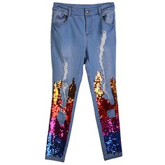 Rainbow Sequin Ripped Slim Jeans (€65) ❤ liked on Polyvore featuring jeans, pants, blue, distressed jeans, destructed jeans, destroyed jeans, slim fit blue jeans and rainbow jeans
