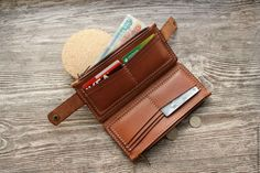 Sew Wallet, Pocket Wallet, Long Wallet, Purse Wallet, Leather Diary, Leather Bag, Leather Tutorial, How To Make Leather, Handmade Leather Wallet