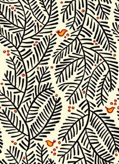 Arborvitae fabric -- black and cream foliage print with burnt-orange birds and berries -- spoonflower
