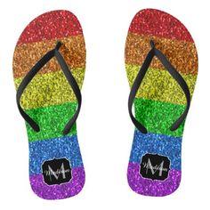 LGBT flag vibrant sparkles Monogram Flip Flops - glitter glamour brilliance sparkle design idea diy elegant
