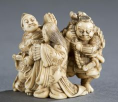 "A Japanese ivory netsuke of Minamoto no Yorimasa slay the monster Nue with his retinue Ino Hayata while Ayame no Mae aside. 19th century. Depicting Minamoto no Yorimasa and Ayame no Mae walking side by side,  Ino Hayata following them carrying monster Nue bundled up on his back, Himotoshi using natural openings. Signed on the bottom: ""Issen"". 1 5/16""h x 1 1/4""w. Provenance: Ex. Collection of Raymond and Frances Bushell."