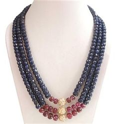 blue sapphire and ruby beaded necklace