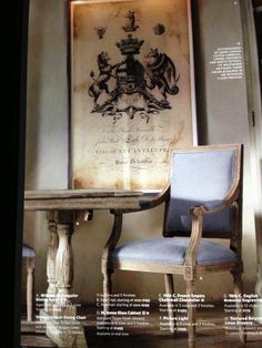 Restoration hardware vintage French dining chair weathered oak. Drifted finish w amethyst Belgian linen