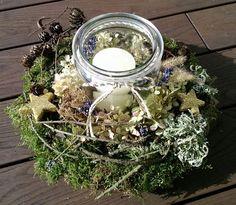Einmachglas mit Kranz natural