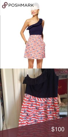 Lilly Pulitzer Dionne dress in She's a Firecracker Size medium Dionne dress in She's a Firecracker. Never worn or washed by me. Preowned and described as EUC Lilly Pulitzer Dresses One Shoulder