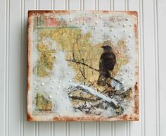 nice texture...Gentle SNOW Fall Over Wyoming Mixed Media Encaustic Vintage Map Painting.