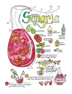 This is an illustrated recipe for a refreshing sangria. Small illustrations tell certain steps in the preparation. This is an art print from the cookbook that Marcella wrote and illustrated, Mi Comida Latina. The book has 140 pages, hand-labeled, based Sangria Cocktail, Sangria Wine, Vodka Cocktails, Berry Sangria, Vodka Martini, Healthy Cocktails, Summer Cocktails, Comida Latina, Food Journal