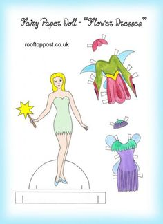 Fairy paper doll with flowery