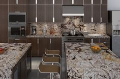 American Kitchen, Marble, Granite, Guidoni, Architectural Interior Design, 3D Perspective.