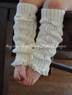 Little Girl Knit Leg Warmers With Lace for by SockSistersDesigns