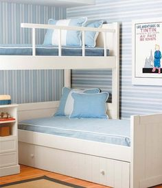 White L-shaped bunk beds