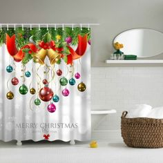Bath Decor Waterproof Polyester Merry Christmas Shower Curtain - L Mobile Christmas Shower Curtains, Cheap Shower Curtains, Christmas Bathroom, Bathroom Shower Curtains, Bathroom Rugs, Christmas Balls, Christmas Wreaths, Merry Christmas, Christmas Decorations