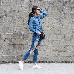 Anouska Proetta Brandon - Topshop Shirt, Guess? Jeans, Shoes - Double Denim | LOOKBOOK