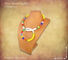 Traditional African Beaded Necklaces handmade by highly skilled Zulu Beadworkers from South Africa. African Jewelry including beaded bangles, bracelets and earrings. African Beads Necklace, African Jewelry, Handmade Necklaces, Beaded Jewelry, African Crafts, Bangle Set, Zulu, South Africa, Bead Jewelry