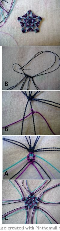 macrame pentagon - photo tutorial (spanish) - how to start from centre and add threads Macrame Colar, Macrame Art, Macrame Projects, Macrame Necklace, Macrame Knots, Macrame Jewelry, Macrame Bracelets, Loom Bracelets, Friendship Bracelet Patterns