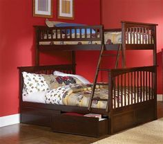 Columbia Antique Walnut Wood Twin/Full Bunk Bed w/2 Flat Panel Drawer