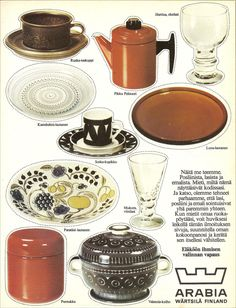 "Onpas tässä Arabian vuoden 1973 mainoksessa hyvä idea!   ""....Olemme tehneet parhaamme jotta lasi, posliini ja emali sointuisivat ... Vintage Dishes, Vintage Table, Vintage Glassware, Retro Vintage, Retro Design, Vintage Designs, Scandinavia Design, Old Commercials, Kitchenware"