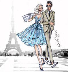 'Parisian Getaway' ~ Illustration by Hayden Williams Illustration Tattoo, Illustration Mode, Fashion Illustration Sketches, Fashion Design Sketches, Fashion Drawings, Hayden Williams, Arte Fashion, Art Tumblr, Creation Art