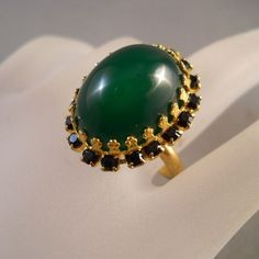 Vintage Green Costume Ring Rhinestones Adjustable