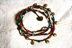 abrigo de macrame pulsera para el tobillo, tribal pulsera para el tobillo, tobillera perlas, coral, jade, turquesa, pulsera para el tobillo gitano, abrigo de cuentas bronce, collar, pulsera, tobillera hippie