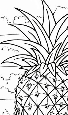 Pineapple coloring page beach art digital by adultcoloringbook