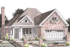 Traditional Style House Plan - 2 Beds 2 Baths 1425 Sq/Ft Plan #20-1594 Exterior - Front Elevation - Houseplans.com