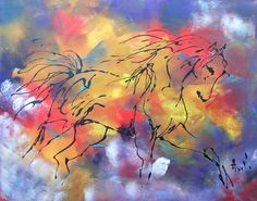 """Tableau """"Le cheval de couleur """" peinture acrylique - peintures-axelle-bosler : Peintures par peintures-axelle-bosler"""