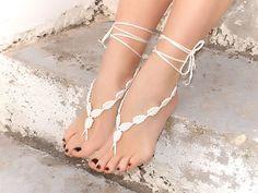 Crochet barefoot sandals.
