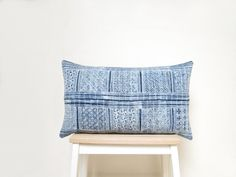 Vintage hand printed Hmong textile cushion cover 12x20